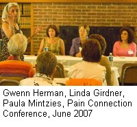 Gwenn Herman, LCSW-C, DCSW, Linda Girdner, PhD, Paula Mintzies, LCSW, Pain Connection Conference, June 2007